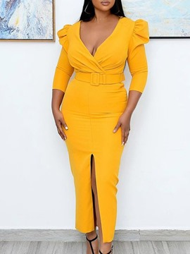 Ericdress Yellow Ankle-Length Three-Quarter Sleeve Belted Split Summer Office Lady Dress