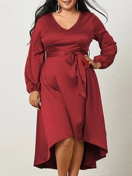 Ericdress Plus Size Long Sleeve Mid-Calf V-Neck A-Line Spring Dress