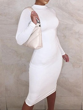 Ericdress Long Sleeve Mid-Calf Stand Collar Ladylike Pullover Dress