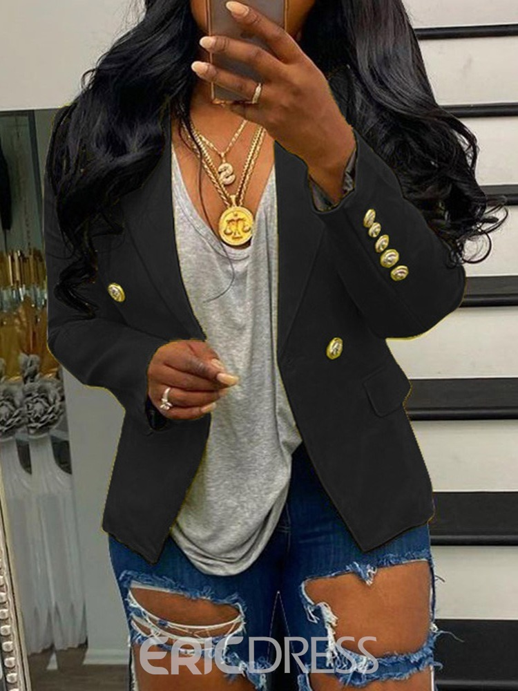 Ericdress Long Sleeve Plain Double-Breasted Casual Blazer