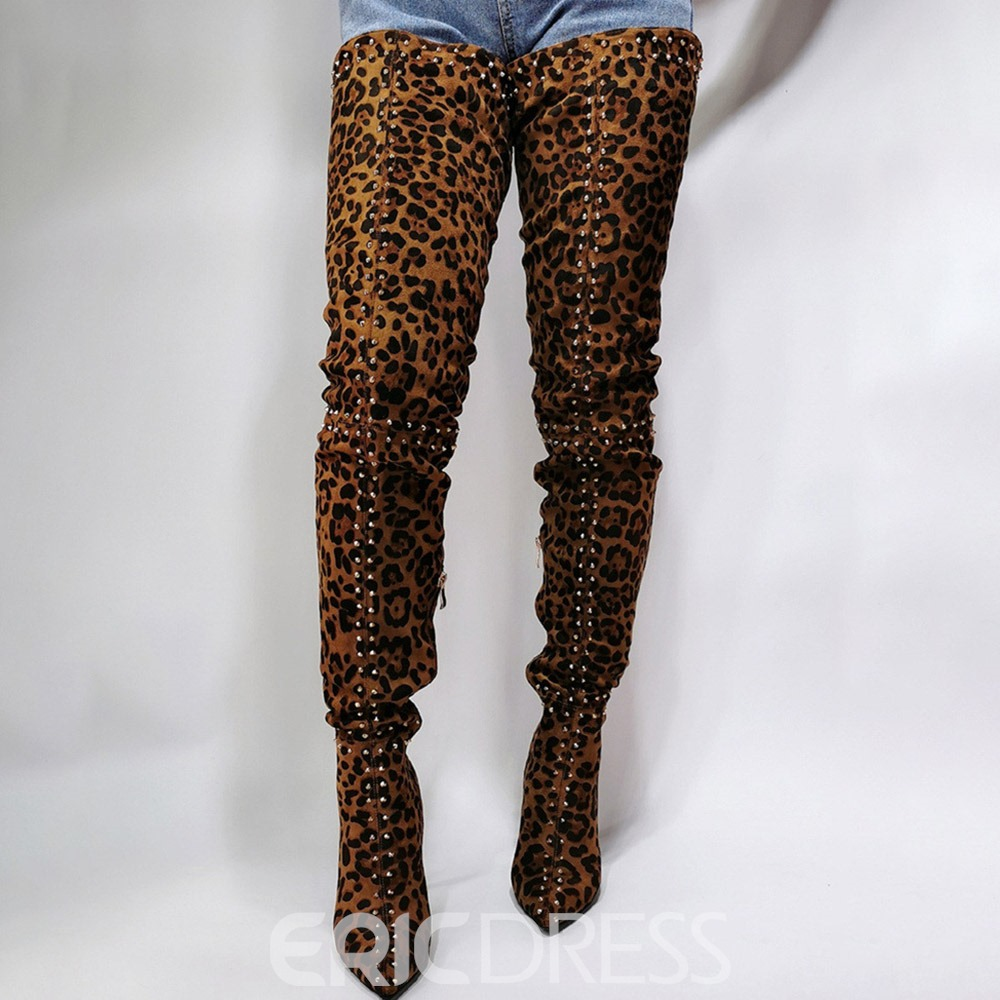 Ericdress Pointed Toe Side Zipper Leopard Professional Boots