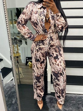 Ericdress Color Block Pants Fashion Single-Breasted Straight Two Piece Sets