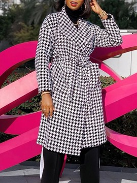 Ericdress Straight Lace-Up Print Fall Long Overcoat
