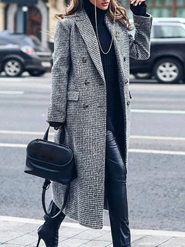 Ericdress Double-Breasted Print Straight Fall Long Overcoat