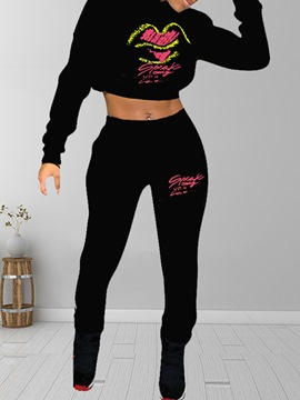 Ericdress Embroidery Hoodie Fashion Pencil Pants Hooded Two Piece Sets