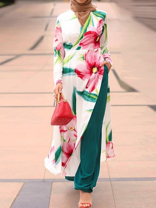 Ericdress Floral Muslim Pants Straight Pullover Two Piece Sets