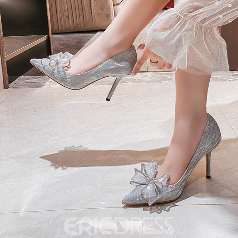 Ericdress Bow Stiletto Heel Pointed Toe Plain Thin Shoes