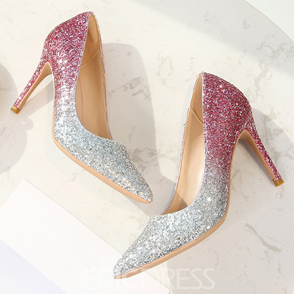 Ericdress Slip-On Stiletto Heel Pointed Toe Color Block Thin Shoes