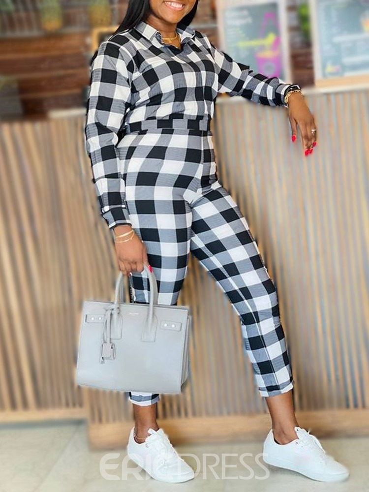 Ericdress Office Lady Shirt Print Lapel Two Piece Sets