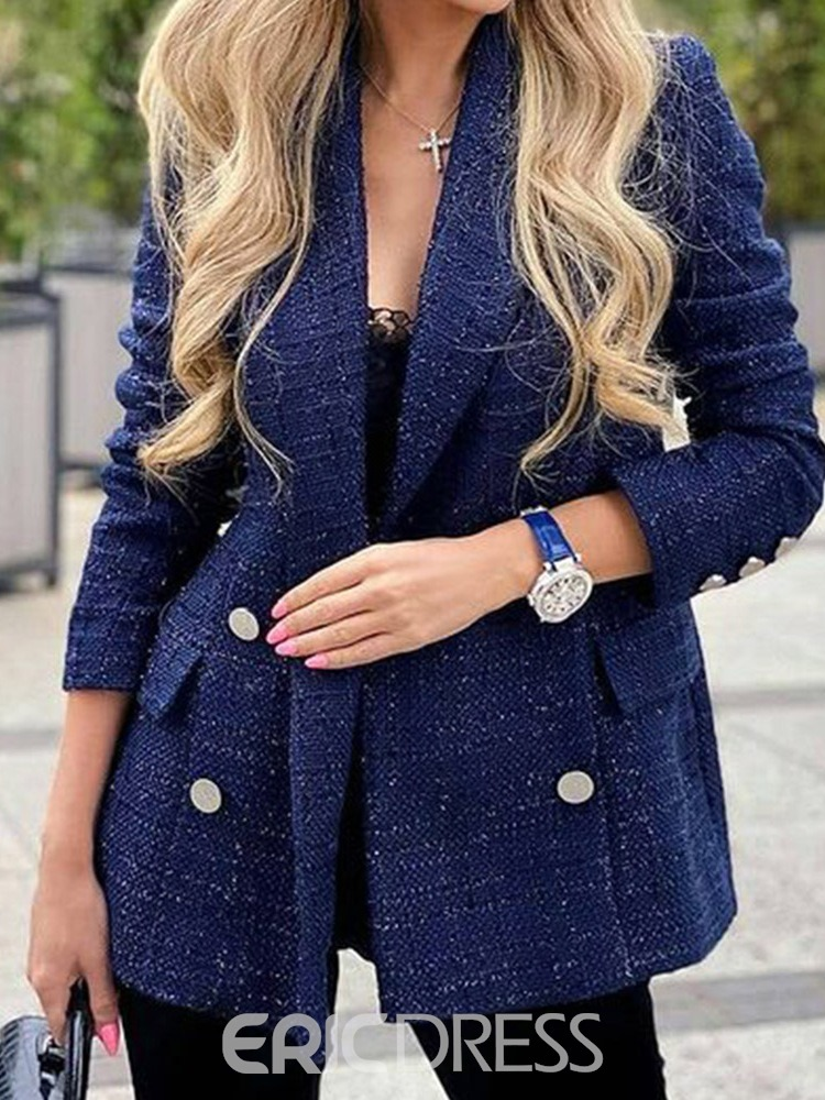 Ericdress Double-Breasted Notched Lapel Three-Quarter Sleeve Mid-Length Fall Casual Blazer