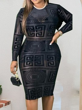 Ericdress Long Sleeve Round Neck Patchwork Geometric Pullover Dress