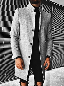 Ericdress Button Plain Mid-Length Single-Breasted Fashion Men's Coat