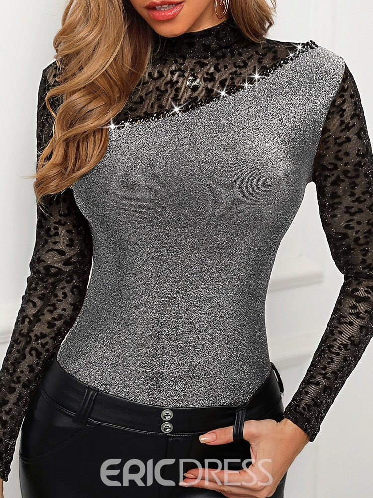 Ericdress Long Sleeve Color Block Stand Collar Spring Fashion T-Shirt
