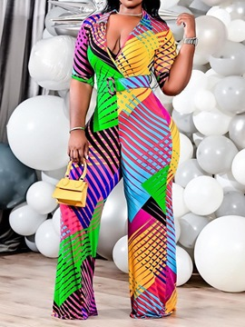 Ericdress Fashion Patchwork Full Length Straight Slim Jumpsuit
