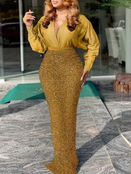 Ericdress Shirt Office Lady Sequins Bodycon Two Piece Sets