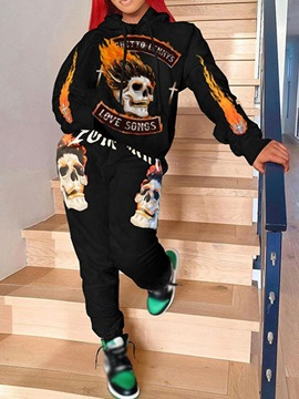 Ericdress Western Patchwork Skull Hooded Pencil Pants Two Piece Sets