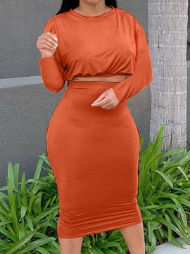 Ericdress Skirt Plain Sweet Bodycon Pullover Two Piece Sets