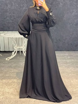 Ericdress Floor-Length Pleated Stand Collar Fashion Spring Dress