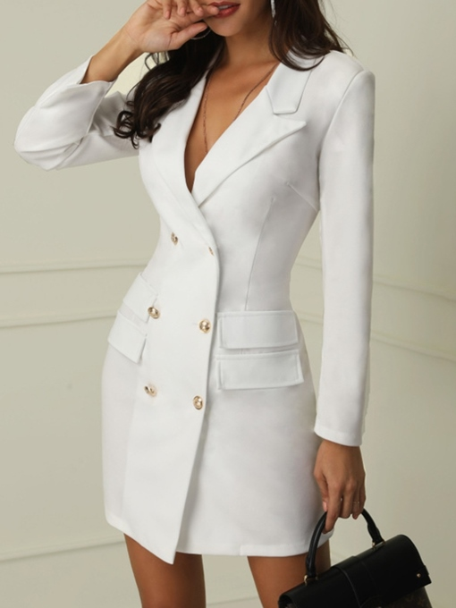 Ericdress Long Sleeve Notched Lapel Double-Breasted Regular Spring Casual Blazer