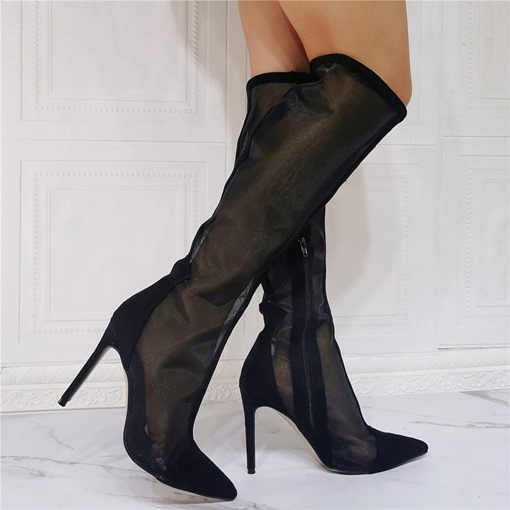 Ericdress Side Zipper Stiletto Heel Pointed Toe See-Through Boots