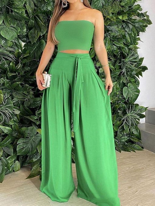 Ericdress Pants Fashion Lace-Up Pullover Straight Two Piece Sets