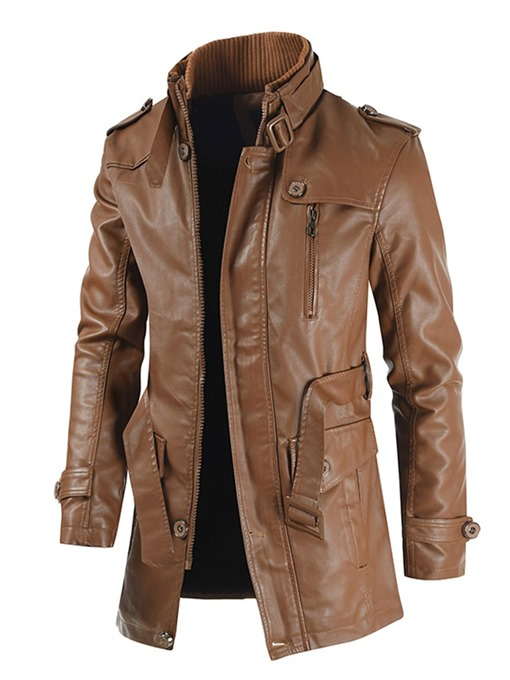 Ericdress Plain Stand Collar Mid-Length Pocket Fashion Men's Leather Jacket