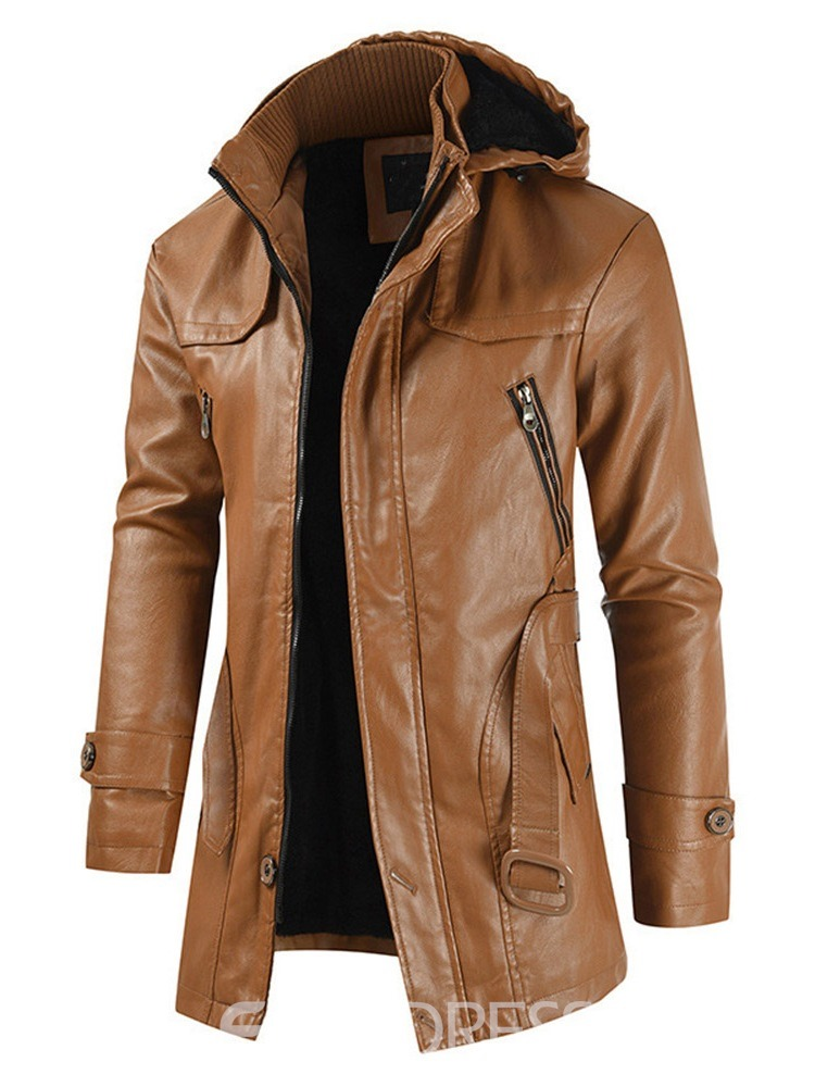 Ericdress Mid-Length Embossed Leather Hooded Men's Casual Leather Jacket