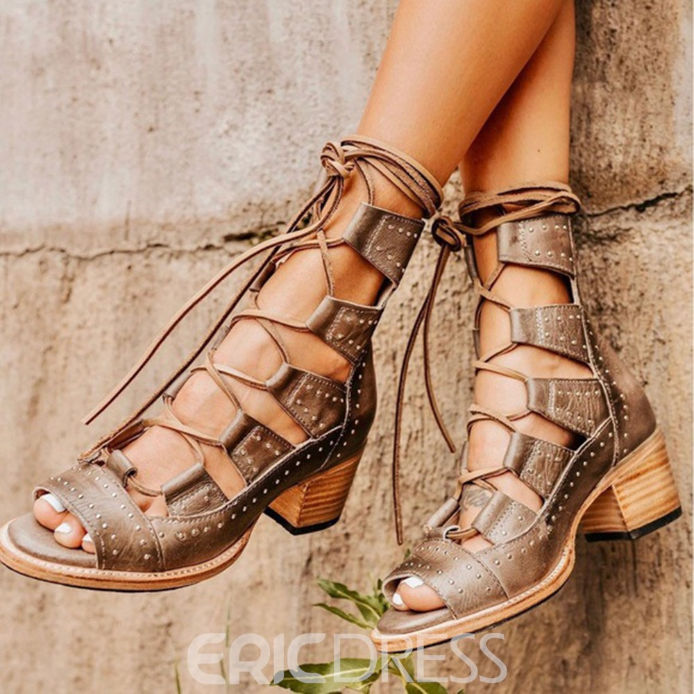 Ericdress Chunky Heel Lace-Up Front Peep Toe Professional Boots