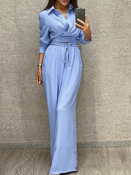 Ericdress Plain Pants Fashion Pullover Straight Two Piece Sets