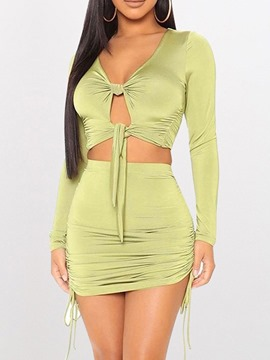 Ericdress Fashion Lace-Up T-Shirt Bodycon V-Neck Two Piece Sets