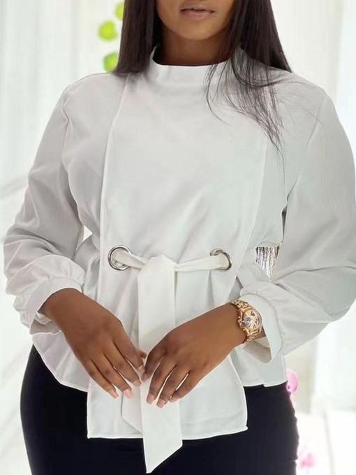 Ericdress Stand Collar Plain Lace-Up Long Sleeve Standard Blouse