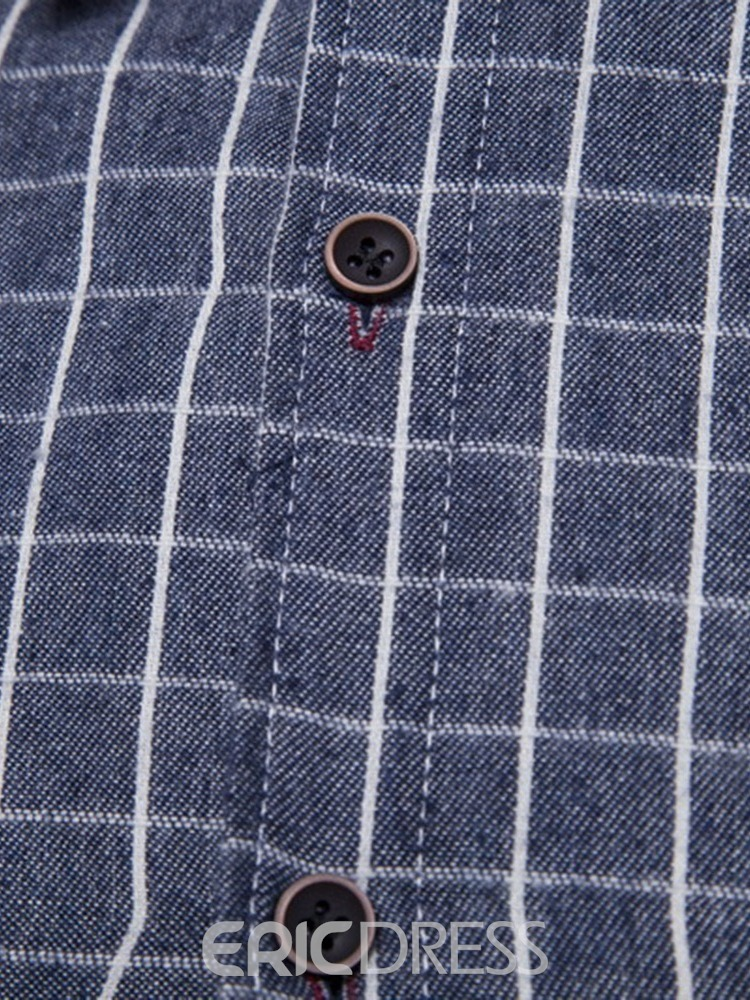 Ericdress Plaid Lapel Casual Men's Single-Breasted Shirt