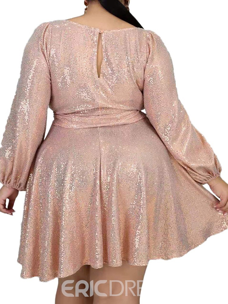 Ericdress Plus Size Above Knee Long Sleeve Lace-Up Summer Pullover Dress
