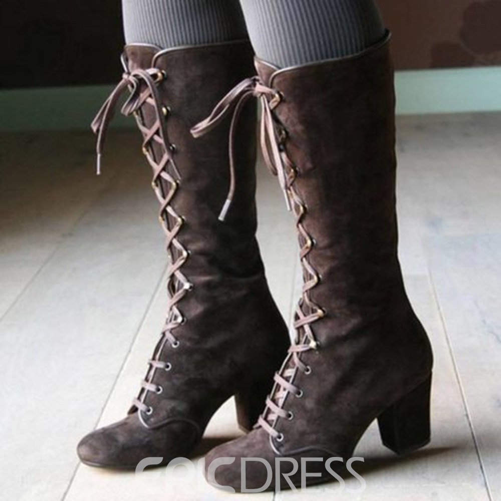 Ericdress Chunky Heel Plain Lace-Up Front PU Boots