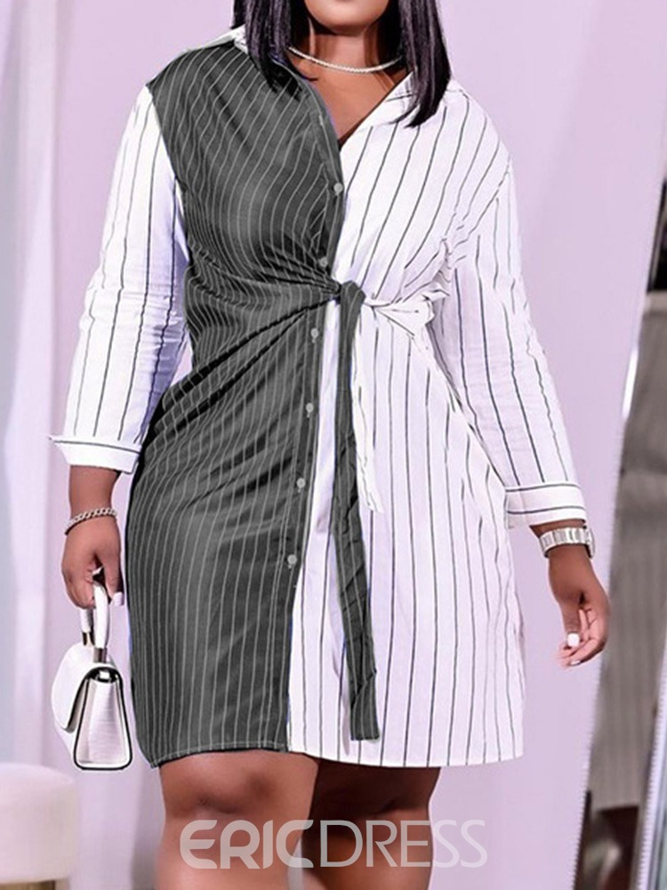 Ericdress Lace-Up Lapel Above Knee Fashion Summer Dress
