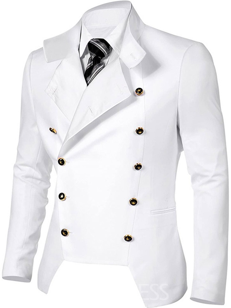 Ericdress Button Stand Collar Plain Slim Double-Breasted Men's Jacket