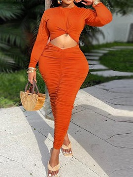 Ericdress Hollow Ankle-Length Long Sleeve Bodycon Pullover Dress