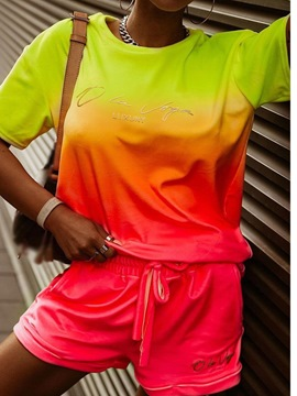 Ericdress Sports Gradient T-Shirt Straight Round Neck Two Piece Sets
