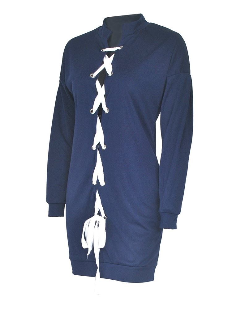 Ericdress Lace Up Plain Spring Stand Collar Hoodie