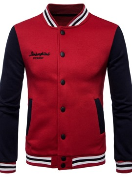 Ericdress Color Block Pocket Stand Collar Single-Breasted Fashion Men's Jacket