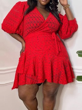 Ericdress Lace-Up Above Knee V-Neck A-Line Pullover Dress