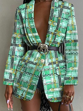 Ericdress Notched Lapel Long Sleeve One Button Spring Green Plaid Casual Blazer