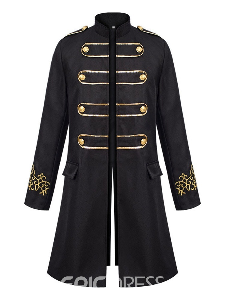 Ericdress Embroidery Stand Collar Long Fashion Single Men's Trench Coat