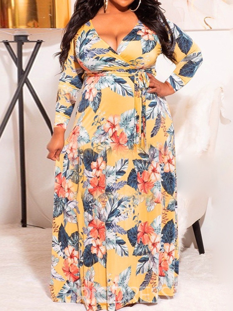 Ericdress Plus Size Floor-Length Lace-Up Long Sleeve Fashion Pullover Dress