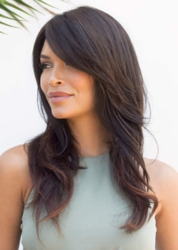 Ericdress Womne's Long-Layers With Swept Fringe Naturally Tapered Ends Wavy Human Hair Capless Wigs 22Inch
