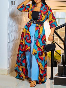 Ericdress Africa Print Color Block Long Slim Fashion Trench Coat