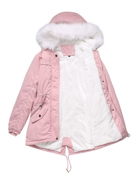 Ericdress Thick Zipper Pocket Mid-Length Cotton Padded Jacket