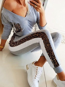 Ericdress Casual Patchwork T-Shirt V-Neck Sport Two Piece Sets