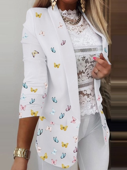 Ericdress Butterfly Print Notched Lapel Long Sleeve Spring Mid-Length Casual Blazer