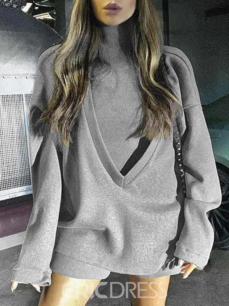 Ericdress Plain Mid-Length Two Piece Fall Hoodie